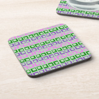 Crazy jumping retro vintage squares on moss green drink coaster