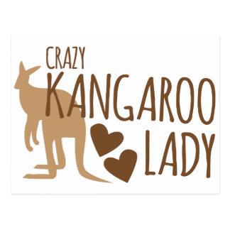 Crazy Kangaroo Lady Postcard