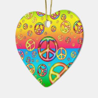 Crazy Kids Colors-PEACE OUT-Heart Ornament