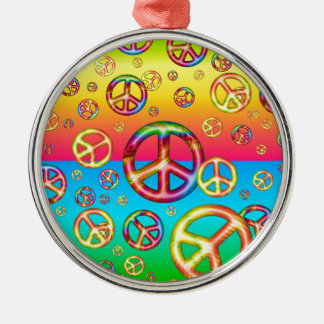 Crazy Kids Colors-PEACE OUT-Round Ornament