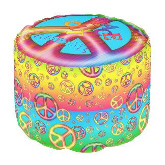 Crazy kids Colors PEACE OUT-Round Pouf Seat