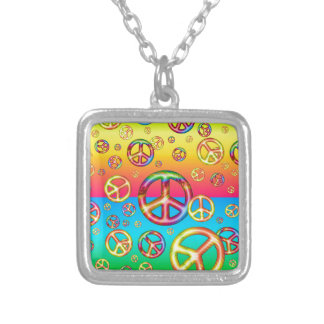 Crazy Kids Colors-PEACE OUT Silver Plated Necklace