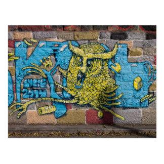 Crazy Kind Of Fantasy Horned Owl Graffiti Postcard