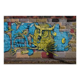 Crazy Kind Of Fantasy Horned Owl Graffiti Poster