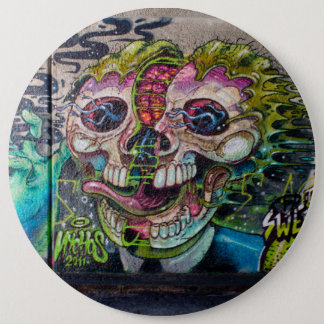 Crazy Kind Of Horror Skull Graffiti Button