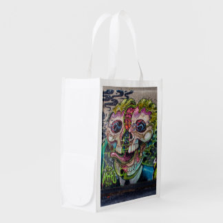 Crazy Kind Of Horror Skull Graffiti Grocery Bags