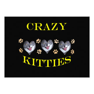 Crazy Kitties Yellow 2 Personalized Invitation