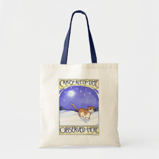 Crazy Kitty Time, cat art, tabby cat, tote bag