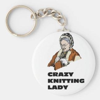 Crazy Knitting Lady Key Chains