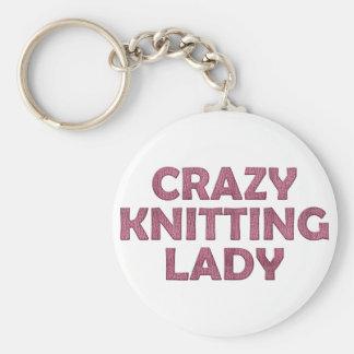 Crazy Knitting Lady Keychain