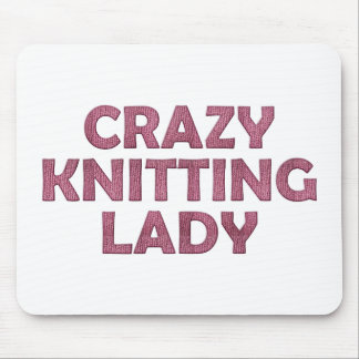 Crazy Knitting Lady Mouse Pad