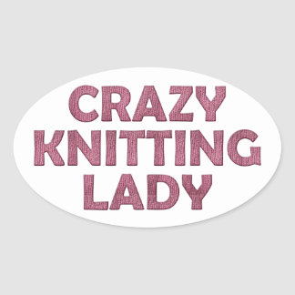 Crazy Knitting Lady Stickers