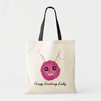 Crazy Knitting Lady Tote Bag