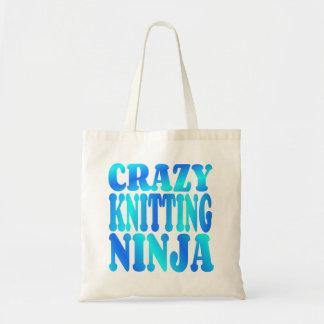 Crazy Knitting Ninja Canvas Bags