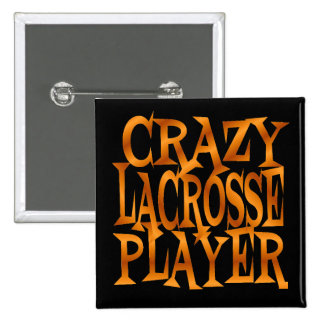 Crazy Lacrosse Player in Gold 2 Inch Square Button