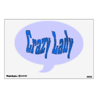 Crazy Lady blue Wall Decal