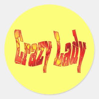crazy lady classic round sticker