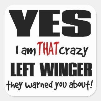 Crazy Left Winger Square Sticker