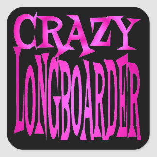 Crazy Longboarder in Pink Square Sticker