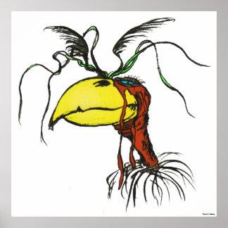 Crazy Looking Harpie Vulture Bird with Red-Neck Poster