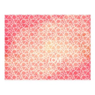 Crazy Love Funky Watercolor Text Design Pattern Postcard
