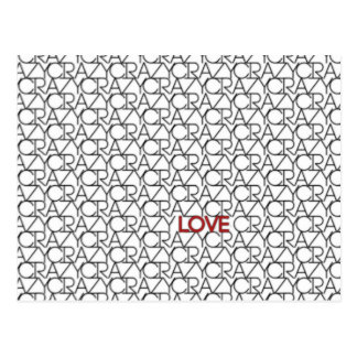 """Crazy, Love"" Typography Pattern in Black White Postcard"
