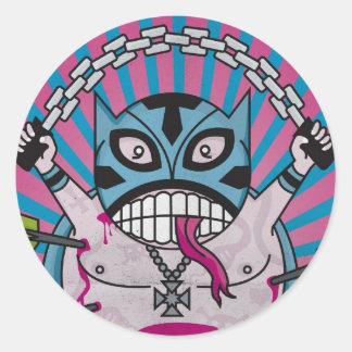 Crazy Luchador Classic Round Sticker