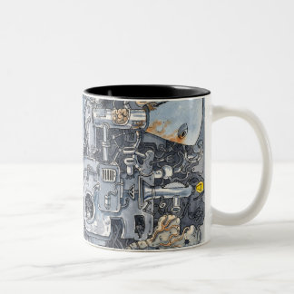 crazy machine Two-Tone coffee mug