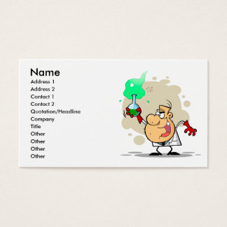 crazy mad scientist cartoon business card
