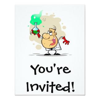 crazy mad scientist cartoon 4.25x5.5 paper invitation card