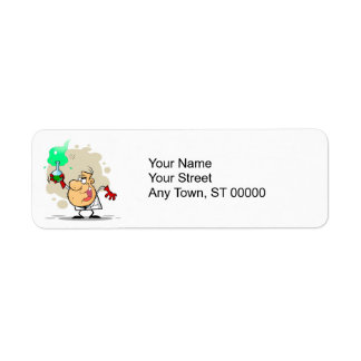crazy mad scientist cartoon label