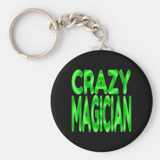 Crazy Magician in Green Basic Round Button Keychain