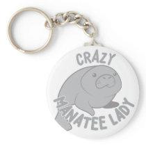 Crazy Manatee Lady Keychain