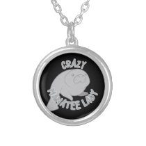 Crazy Manatee Lady Silver Plated Necklace