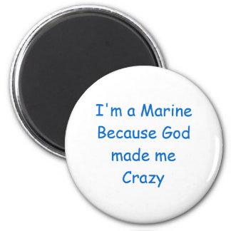 Crazy Marine 2 Inch Round Magnet