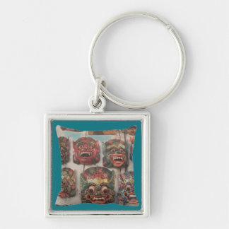 "crazy masks -Small (1.38"") Premium Square Keychain"