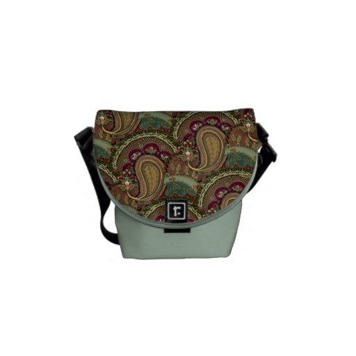 Crazy,  Mazy, Paisley fabric design Courier Bag