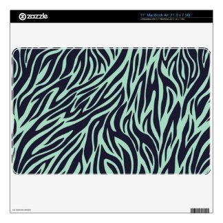 "crazy mint green and black zebra stripes skin for 11"" MacBook air"