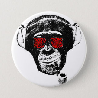 crazy monkey pinback button