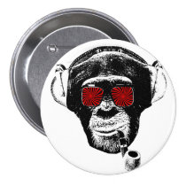 monkey, vintage, pipe, psychedelic, retro, fun, funny, crazy monkey, primacy, sunglasses, creatures, chase, Button with custom graphic design