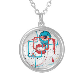 Crazy Monster Face Funny Round Pendant Necklace