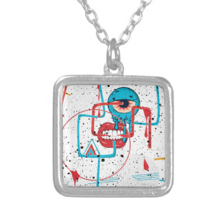 Crazy Monster Face Funny Square Pendant Necklace