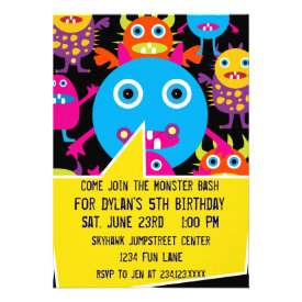 Crazy Monsters Birthday Party Invitations