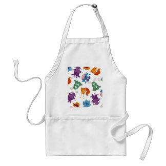 Crazy Monsters Fun Colorful Patterns for Kids Adult Apron