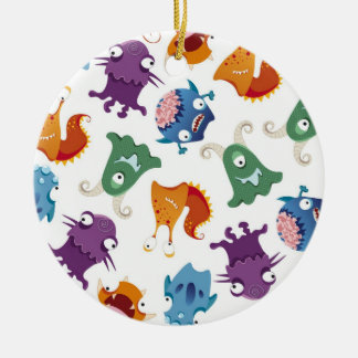 Crazy Monsters Fun Colorful Patterns for Kids Ceramic Ornament