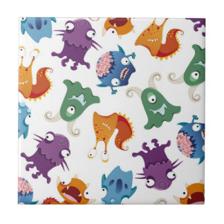 Crazy Monsters Fun Colorful Patterns for Kids Ceramic Tile
