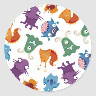 Crazy Monsters Fun Colorful Patterns for Kids Classic Round Sticker