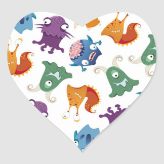 Crazy Monsters Fun Colorful Patterns for Kids Heart Sticker