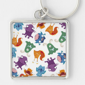 Crazy Monsters Fun Colorful Patterns for Kids Keychain