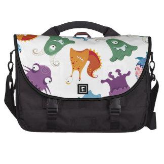 Crazy Monsters Fun Colorful Patterns for Kids Laptop Messenger Bag
